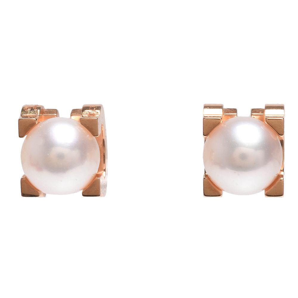 Cartier 經典C DE CARTIER系列Akoya海水珍珠鑲飾18K玫瑰金耳環