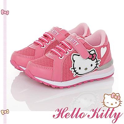 HelloKitty童鞋 透氣輕量減壓抗菌防臭運動休閒慢跑鞋-桃