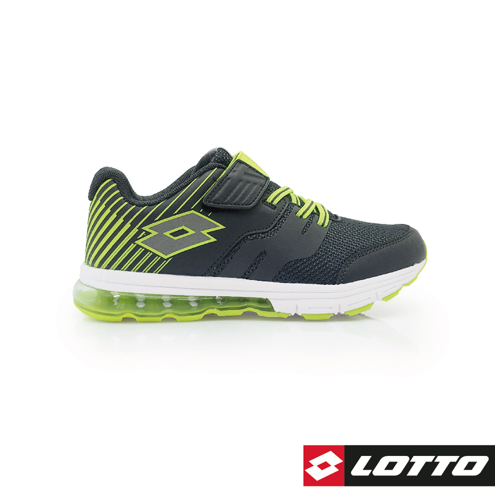 LOTTO 義大利 童 STRETCH 氣墊跑鞋 (深灰/綠)