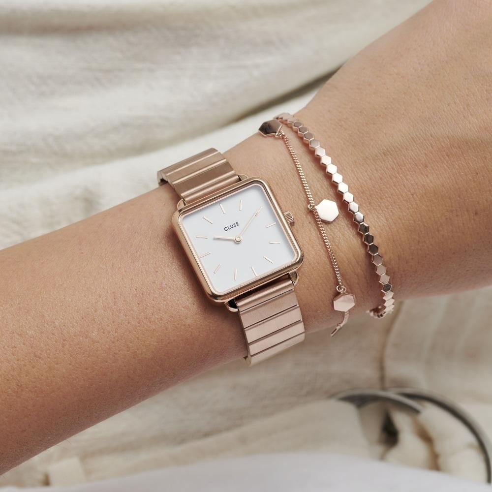 CLUSE La Tetragone季節限定方框不鏽鋼腕錶(玫瑰金框/白錶面)28.5mm