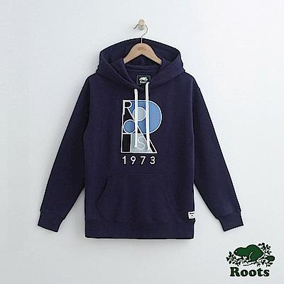 女裝-Roots 大R LOGO連帽上衣-藍