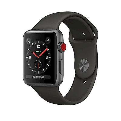 Apple Watch S3 (GPS+網路) 42mm太空灰鋁金屬錶殼搭配灰色運動型錶帶