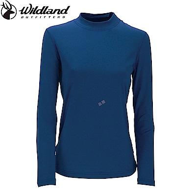 【Wildland 荒野】女遠紅外線彈性保暖衣深藍