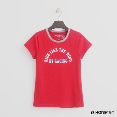 Hang Ten - 女裝 - 有機棉-領口滾邊造型logoT - 紅