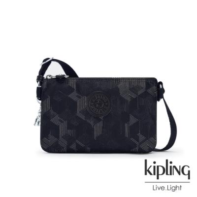 Kipling 幾何圖騰黑三夾層配件包-CREATIVITY XB