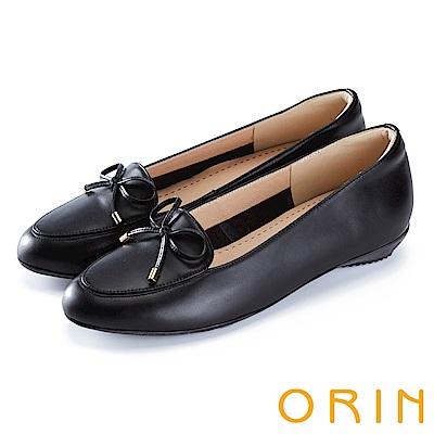 ORIN 氣質甜美風 嚴選高優質牛皮百搭平底鞋-黑色