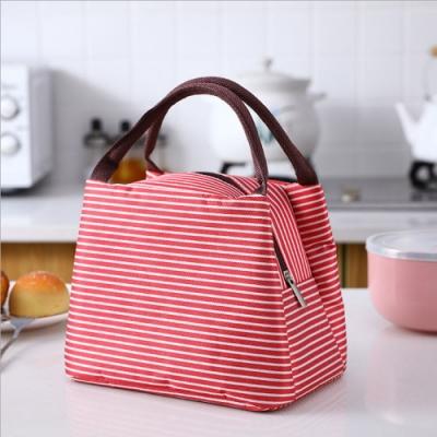PUSH!居家生活用品新款條紋野餐包保溫包冰包防水便當包袋(紅色2入)S77