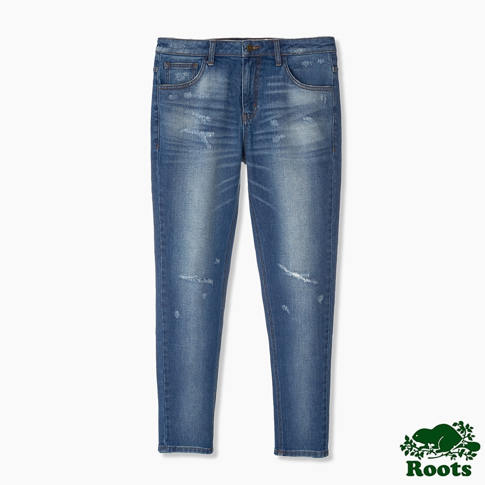 Roots男裝-刷色破壞感牛仔褲-藍色