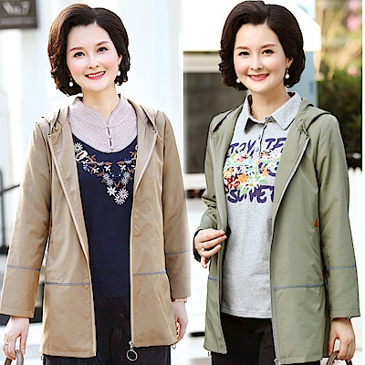 韓版純色簡約休閒連帽外套XL~5XL(共二色)-理子時尚