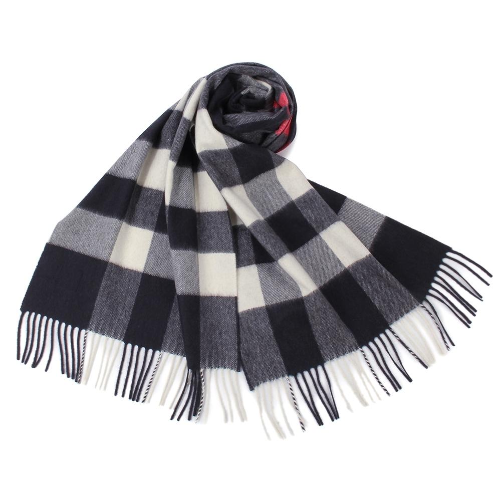 BURBERRY 經典方格紋100%喀什米爾羊毛圍巾(200X36cm)-大/海軍藍色