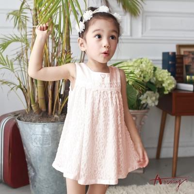 Annys安妮公主-愛心水鑽緞面花朵蕾絲拼接春夏款洋裝*7516粉紅