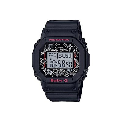CASIO 卡西歐 BABY-G系列 西岸塗鴉電子錶-黑/44mm