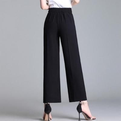 高腰垂感九分直筒闊腿褲XL-5XL(共兩色)-WHATDAY