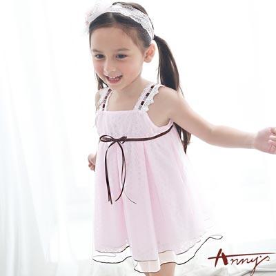 Annys甜美手工訂製緞帶蕾絲吊帶清透洋裝*7514粉