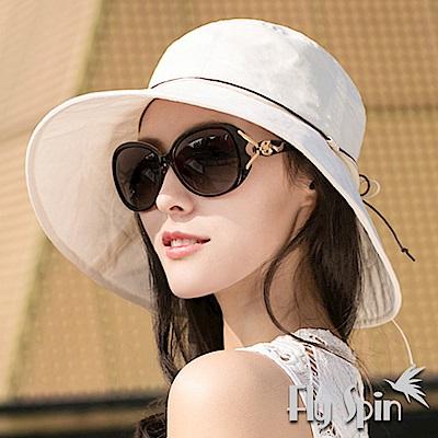 FLYSPIN 女款韓版遮陽可收納蝴蝶結淑女漁夫帽