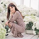 魚尾裙襬拼接純色蕾絲長洋裝-OB嚴選