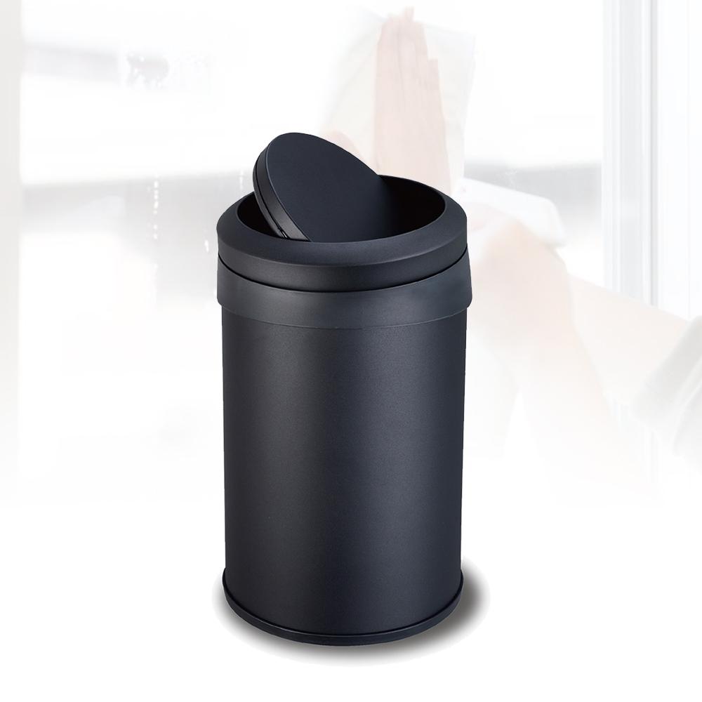 多魔潔 2入台灣製工業風質感霧面黑 防指紋搖蓋垃圾桶12L