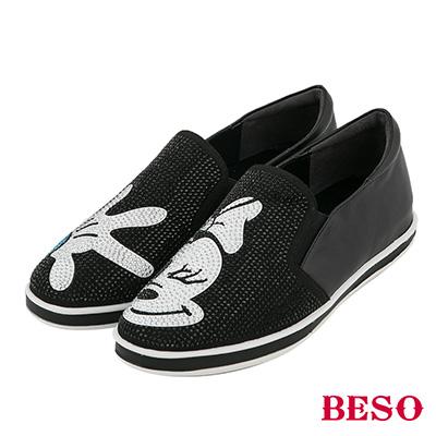 BESO 發燒話題 卡通燙鑽不對稱休閒鞋~黑