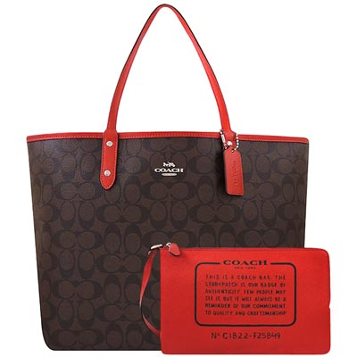 COACH 金屬紅色大C PVC雙面托特包-附大型手拿包