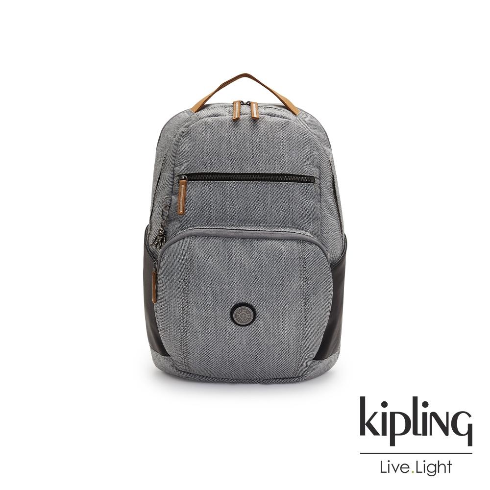 Kipling 質感中性灰黑拼接前後雙層收納後背包-TROY
