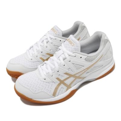Asics 排球鞋 Gel-Task 2 運動 女鞋 亞瑟士 膠底 支撐 緩震 亞瑟膠 白 金 1072A038103