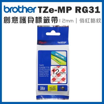 Brother TZe-MP RG31 創意護貝標籤帶 ( 12mm 俏紅格紋 )