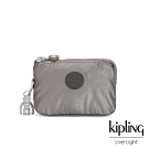 Kipling 低調質感金屬灰褐色三夾層配件包-CREATIVITY S