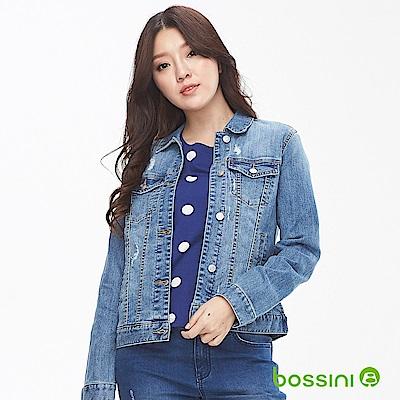 bossini女裝-長袖丹寧外套淡藍