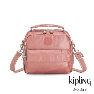 Kipling 甜美俏皮蜜桃粉兩用側背後背包-CANDY