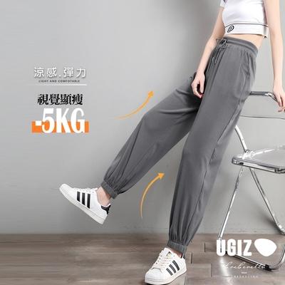 UGIZ-顯瘦鬆緊腰綁帶縮褲口休閒造型長褲-3色(M-XL)
