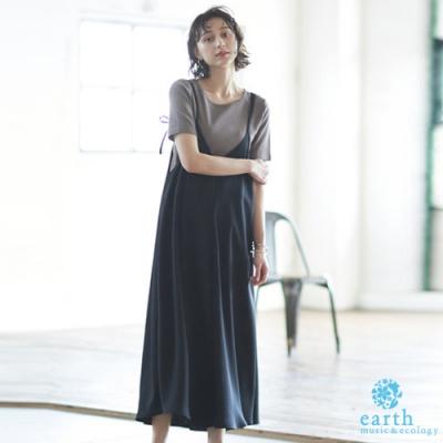 earth music 【SET ITEM】V領吊帶褲裙+基本款圓領上衣