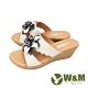 W&M (女) 大花楔型厚底彈力涼拖鞋 女鞋 -米(另有黃) product thumbnail 1