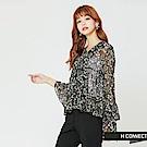 H:CONNECT 韓國品牌 女裝-碎花綁帶微透膚上衣-黑