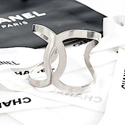 CHANEL 限定款雙C LOGO 造型手環(銀色)