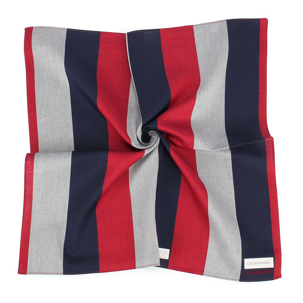Calvin Klein 簡約拼色純綿帕巾-紅灰色