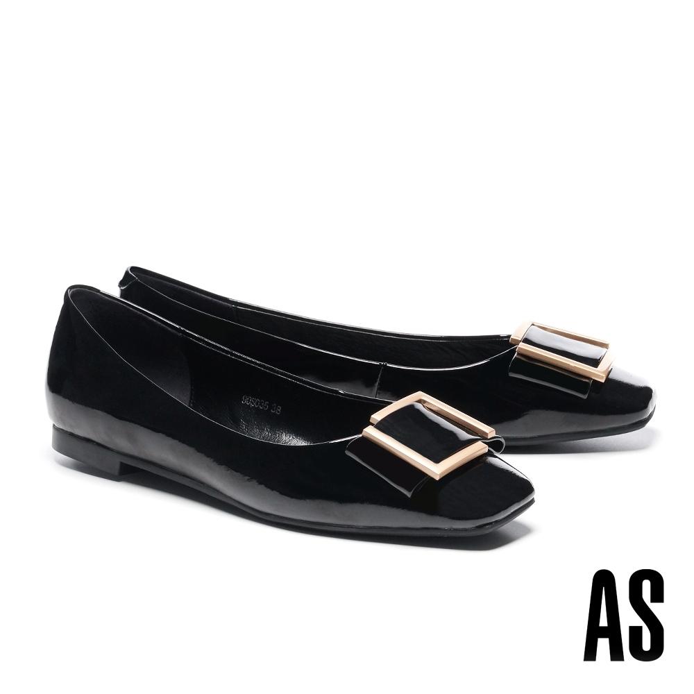 低跟鞋 AS 時尚金屬帶釦全真皮方頭低跟鞋-黑