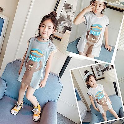 小衣衫童裝  女童卡通熊熊螺紋短袖長板T裙1080305