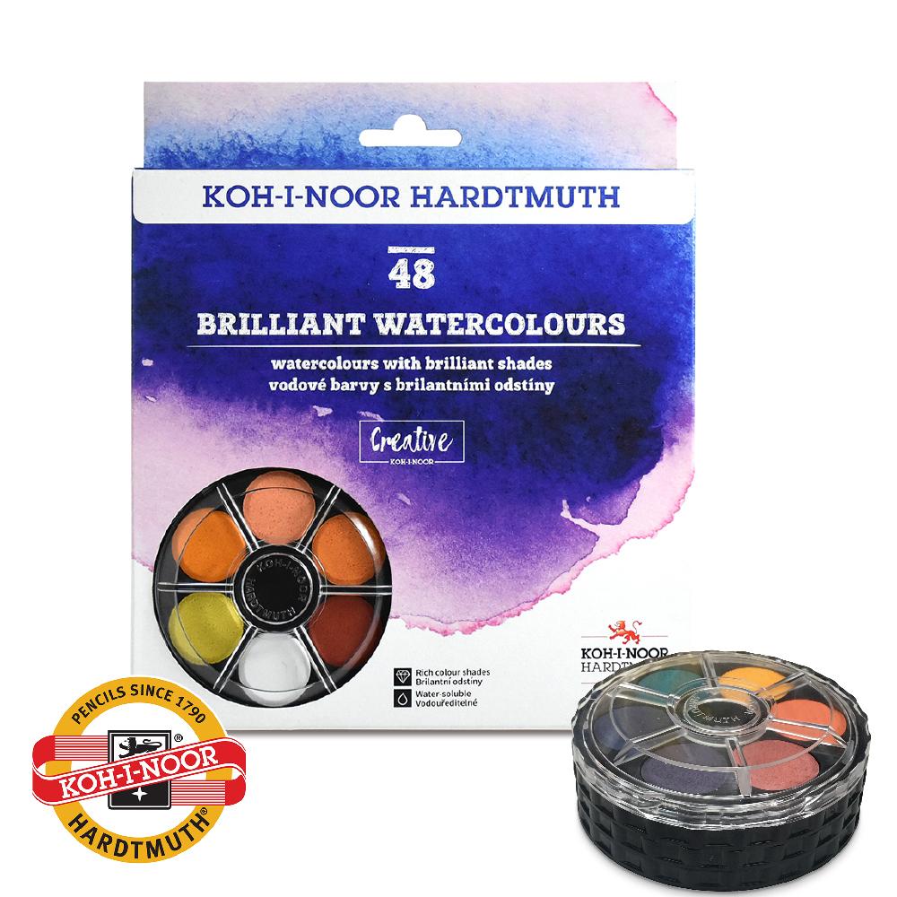 KOH-I-NOOR 光之山 可攜式水彩餅專業級 – 48色 (螺旋疊裝,輕巧好攜帶)