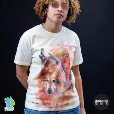 摩達客-美國進口The Mountain 印第安女神與狼 純棉環保藝術中性短袖T恤