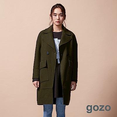 gozo 慵懶翻領落肩羊毛大衣(二色)