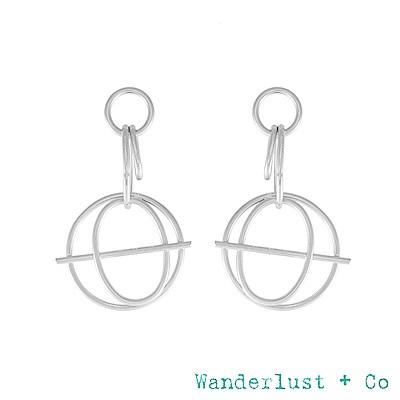 Wanderlust+Co INFUSION系列 幾何星軌鍍Rhodium耳環