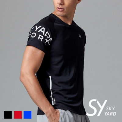 【SKY YARD 天空花園】文字印花設計圓領運動T恤-黑色
