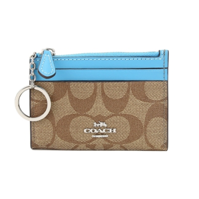 COACH PVC LOGO拉鍊證件零錢鑰匙包(卡其水藍)