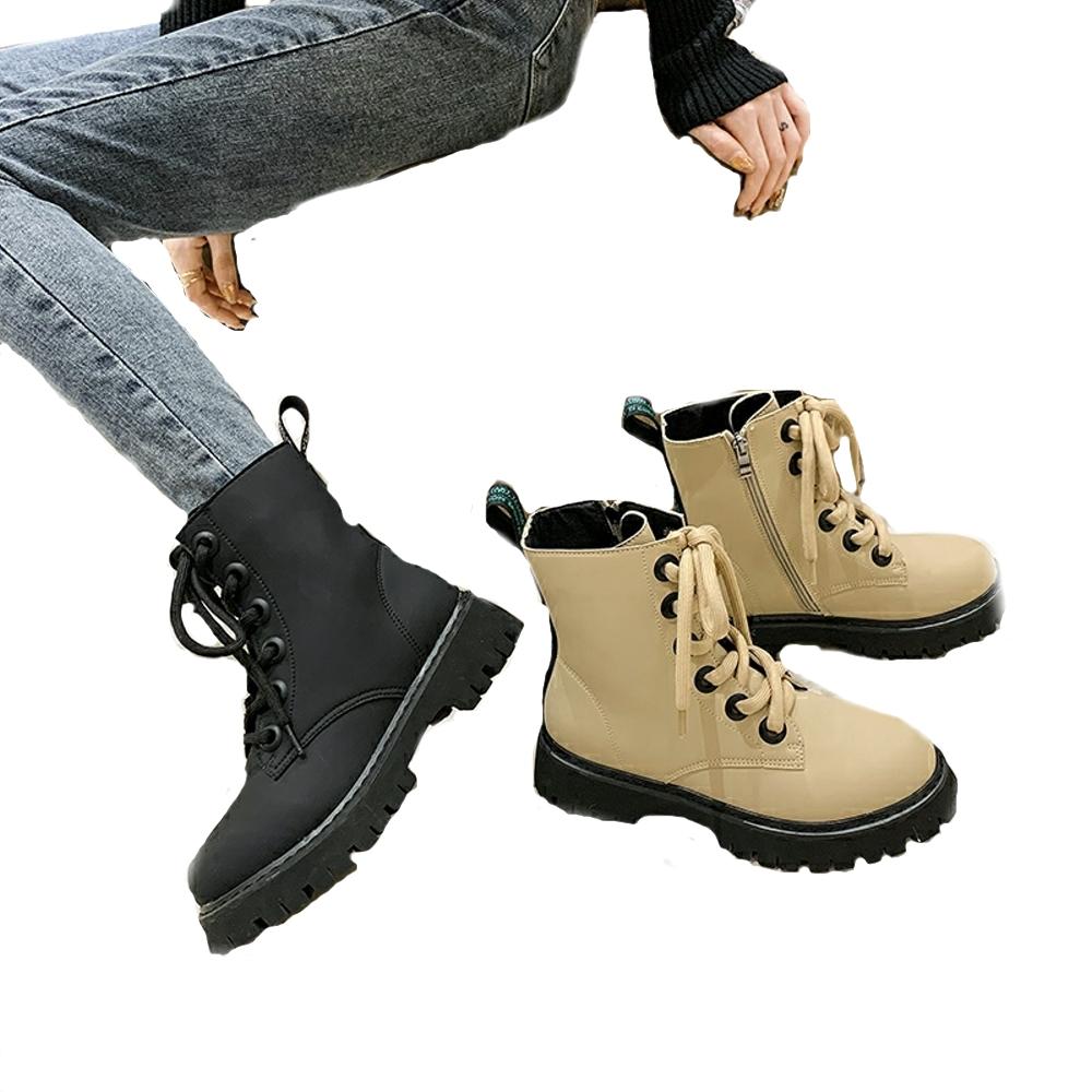 River&Moon英倫時尚 綁帶鬆糕厚底馬汀靴 卡其
