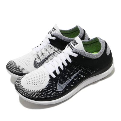 Nike 慢跑鞋 Free 4 Flyknit 運動 女鞋 輕量 透氣 舒適 赤足 路跑 健身房 白 黑 631050100