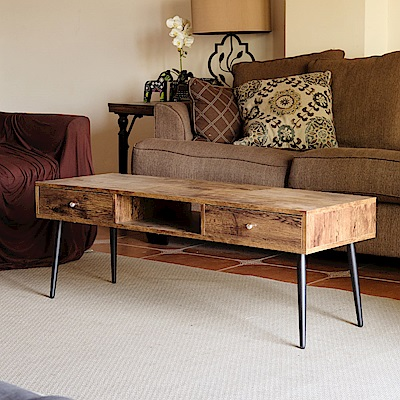 Amos-輕工業復古風椎腳120公分矮茶几桌-兩抽
