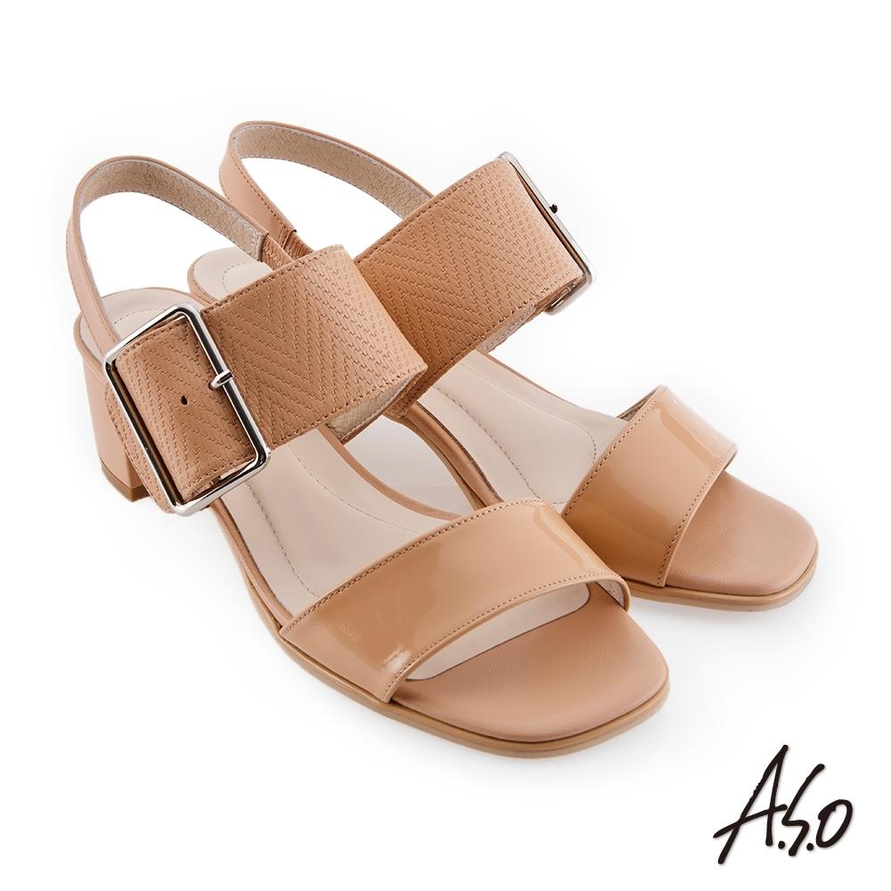 A.S.O 時尚流行 健步美型壓紋皮料大飾釦粗跟涼鞋-卡其