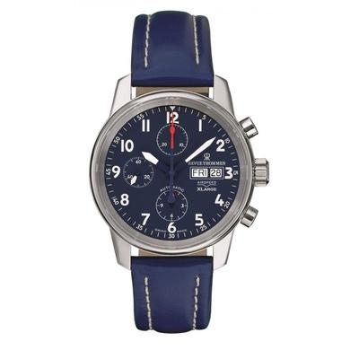 (福利品) REVUE THOMMEN 梭曼錶 Xlarge系列 三眼計時自動機械腕錶 藍色x皮帶/40.5mm (16051.6535)