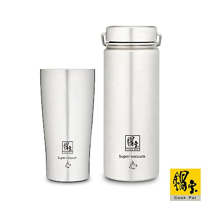 鍋寶 316不鏽鋼內陶瓷保溫杯瓶組-共2入 EO-SVCT3649VBT36561