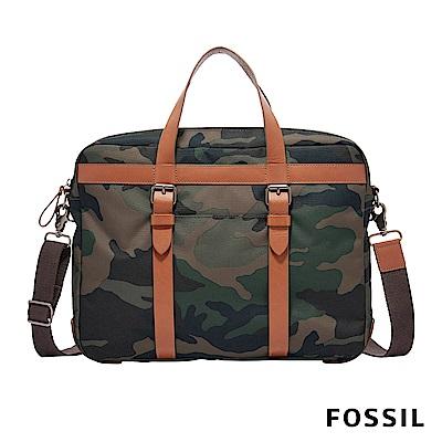 FOSSIL HASKELL 商務真皮公事包-迷彩帆布